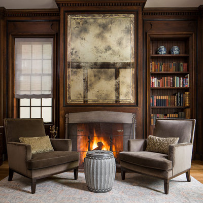 Living room - traditional formal medium tone wood floor and brown floor living room idea in Chicago with brown walls and a standard fireplace