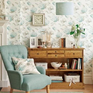 Hydrangea Duck Egg Wallpaper