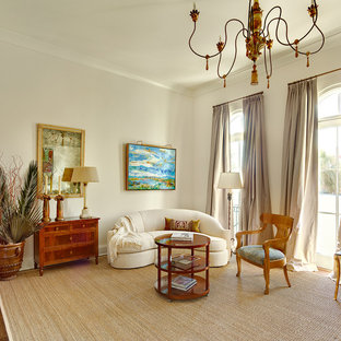 Inspiration for a transitional living room remodel in Charleston with beige walls and no tv