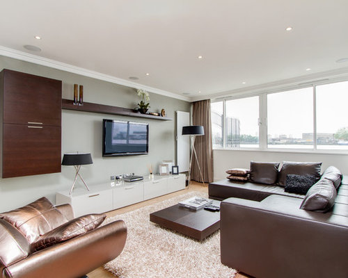 Trendy Living Room Photo In London With Gray Walls And A Wall Mounted Tv
