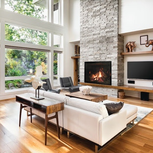 Inspiration For A Transitional Medium Tone Wood Floor And Brown Living Room Remodel With White