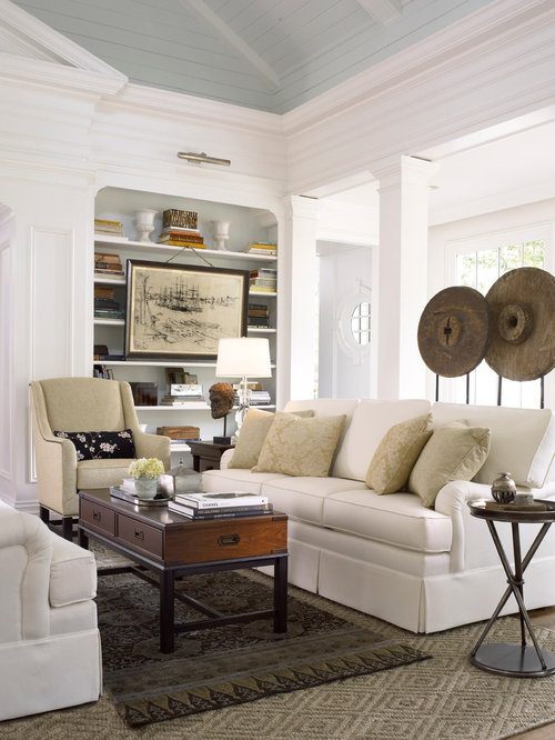 Example Of A Classic Living Room Design In Atlanta With White Walls Part 44