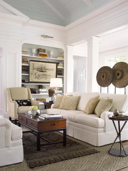 Cream white living room design ideas renovations photos