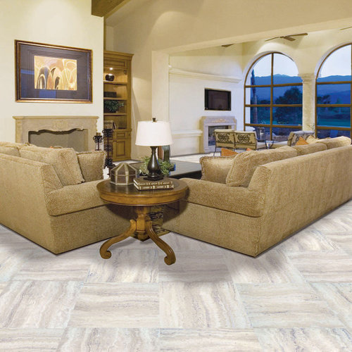 Living room design ideas renovations photos with vinyl floors