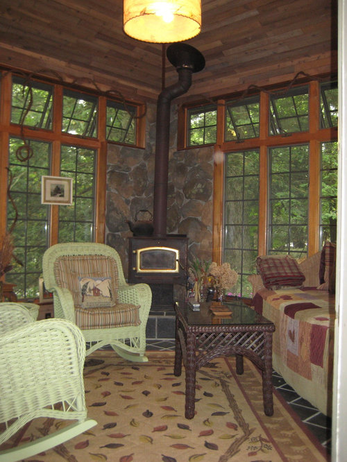 Eclectic living room photo in Charlotte - Wood Stove Hearth Houzz