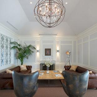 Idéer för ett modernt vardagsrum, med blå väggar
