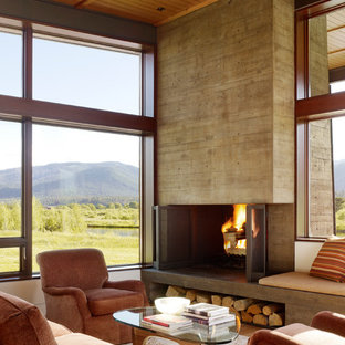 Example of a minimalist living room design in Other with a concrete fireplace