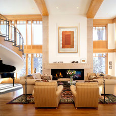 Transitional Living Room by DesRosiers Architects