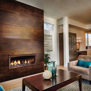 デンバーの大きいコンテンポラリースタイルのおしゃれなリビング (マルチカラーの壁、濃色無垢フローリング、コーナー設置型暖炉、石材の暖炉まわり、テレビなし、茶色い床) の写真