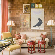 Eclectic Living Room indoor shingled wall
