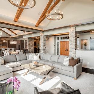 Diseño de salón abierto y abovedado, tradicional renovado, con paredes grises, suelo de madera oscura y suelo marrón