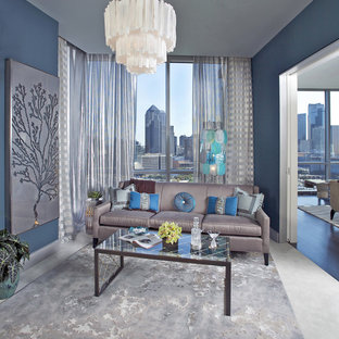 Living room - contemporary living room idea in Dallas with blue walls