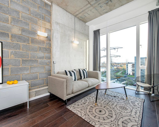 industrial-chic living room design ideas, remodels & photos | houzz