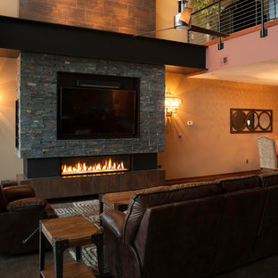 Industrial Downtown Condo Fireplace