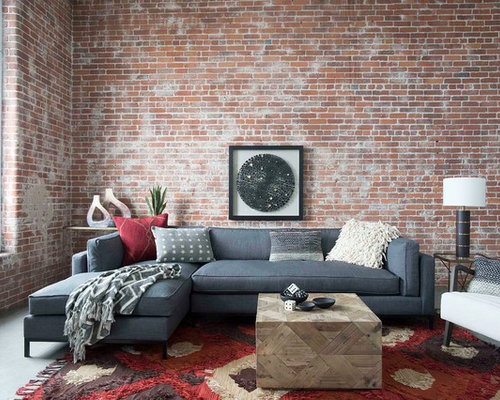 Example Of An Urban Concrete Floor Living Room Design In Boston With Red  Walls