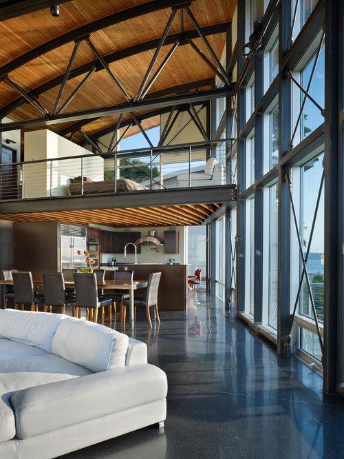 Living Room Black Floor Idea In Seattle