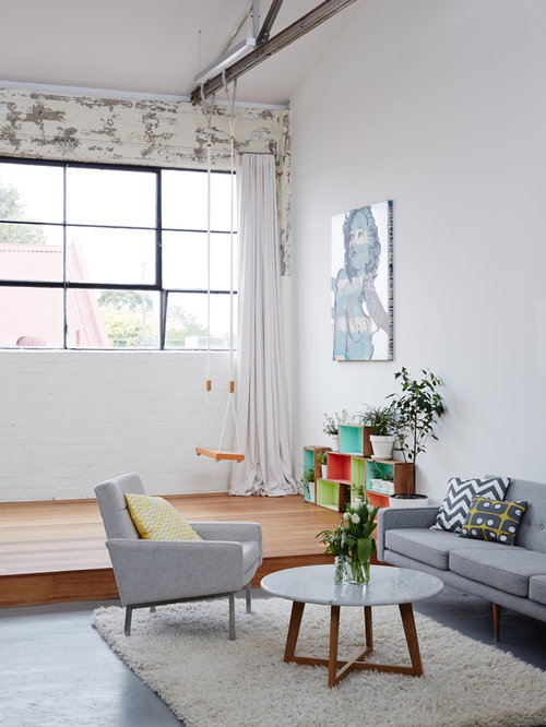 living room swing. Urban formal concrete floor living room photo in Melbourne with white walls Living Room Swing Ideas  Photos Houzz