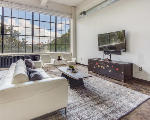 455 Industrial Living Room with Concrete Floors Design Ideas