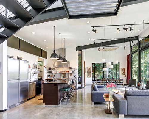 Inspiration For An Industrial Open Concept Concrete Floor And Gray Floor Living  Room Remodel In Seattle