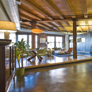 Inspiration for an industrial open concept living room remodel in Boston