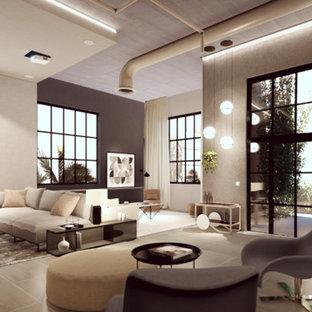 Ejemplo de salón abierto, industrial, grande, sin chimenea, con paredes marrones, suelo de baldosas de porcelana y suelo marrón