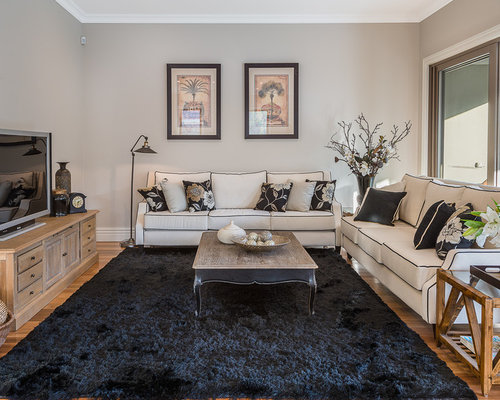 Photo Of A Mid Sized Traditional Open Concept Living Room In Melbourne With  Beige Walls