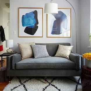 Imagen de salón abierto, ecléctico, pequeño, sin chimenea, con paredes grises, suelo de madera en tonos medios y televisor independiente