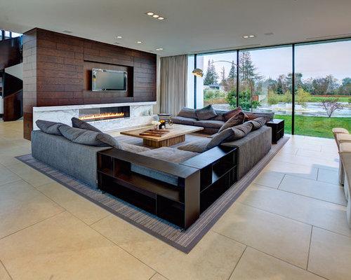 Soggiorno moderno con pavimento in pietra calcarea - Foto e Idee per ...