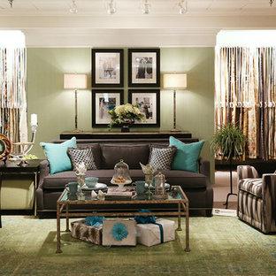 Immagine di un grande soggiorno contemporaneo con pareti verdi, moquette e pavimento verde