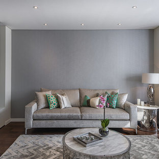 Design ideas for a contemporary living room in London with grey walls and dark hardwood flooring.