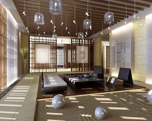 zen living room design. Living Room - Large Open Concept And Formal Ceramic Floor Idea In Other With Zen Design E