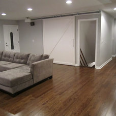 Contemporary Living Room Interior Barn Door