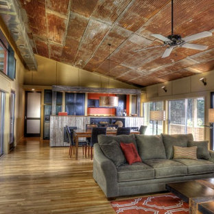 Inspiration for an industrial open concept living room remodel in Jackson