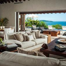 Beach Style Living Room by Katherine Nidermaier Designs
