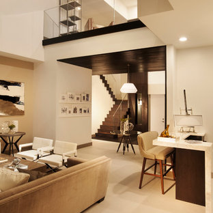 Living room - contemporary open concept living room idea in Miami with a bar and white walls