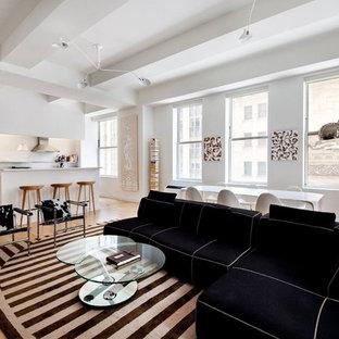 ニューヨークの大きいコンテンポラリースタイルのおしゃれなLDK (フォーマル、白い壁、カーペット敷き、暖炉なし、テレビなし) の写真