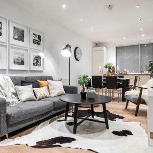 ロンドンの北欧スタイルのおしゃれなLDK (白い壁、淡色無垢フローリング、壁掛け型テレビ) の写真