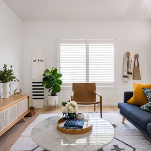 Design ideas for a beach style living room in Sydney.
