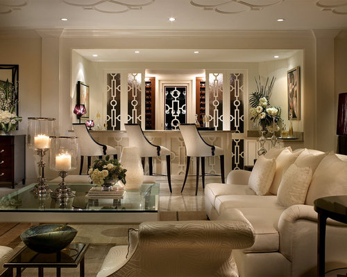 Elegant Example Of A Classic Marble Floor Living Room Design In Miami With A Bar