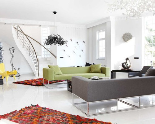Living Room   Contemporary Living Room Idea In Other With White Walls