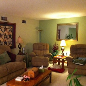Interior Painting - Living room with warm two toned green walls.