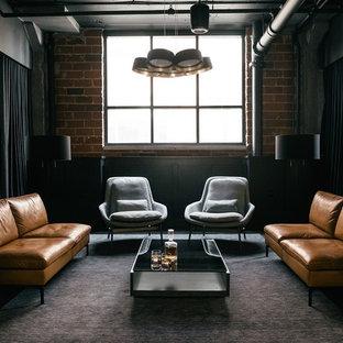 Modelo de salón urbano con paredes marrones, suelo de cemento y suelo negro