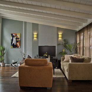 Diseño de salón abierto, moderno, de tamaño medio, sin chimenea, con televisor independiente, paredes azules y suelo de madera oscura