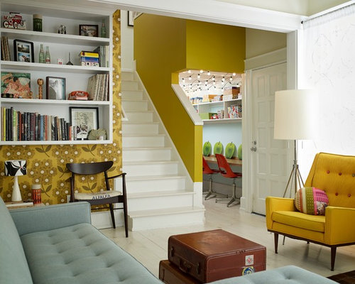 Eclectic Living Room Idea In Atlanta With Yellow Walls Part 55