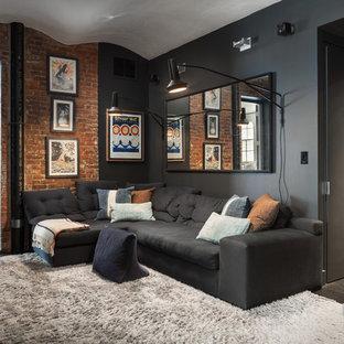 Living Room   Industrial Dark Wood Floor And Brown Floor Living Room Idea  In New York