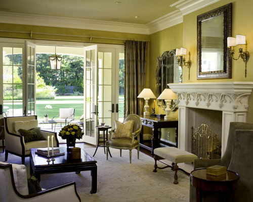 Example of a large classic living room design in San Francisco with yellow  walls and French Style Living Rooms Houzz