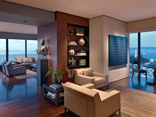 Asian Living Room by Zack|de Vito Architecture + Construction