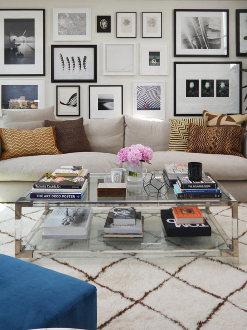 Contemporary Formal Living Room Idea In London With White Walls