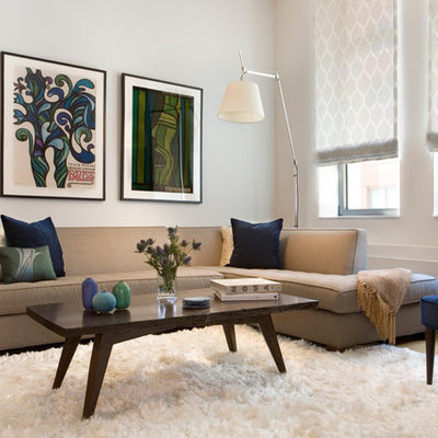 Trendy living room photo in Tampa with white walls