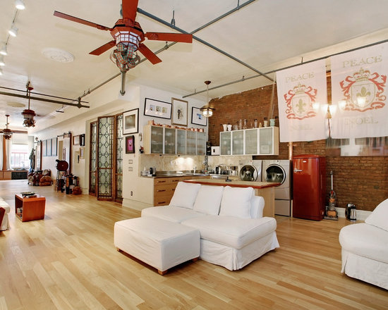 Houzz Ceiling Fans Living Room Modern With Armchair Fan